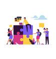 business teamwork concept puzzle elements vector image vector image
