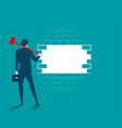 businessman destroying barriers vector image