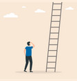 businessman stands in front ladders conquer vector image