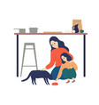 caring mother and cute daughter feeding cat vector image vector image