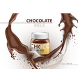 chocolate bottle package mock up realistic vector image vector image