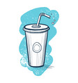 cold drink in plastic cup hand drawn icon vector image