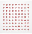 collection of red snowflakes on a white background vector image vector image