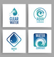 colorful water company logos clean water emblem vector image vector image
