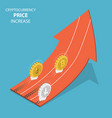 cryptocurrency price increase isometric vector image