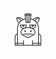cute donkey icon on white background vector image vector image