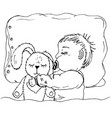 doodle baby sleeping with hare vector image vector image