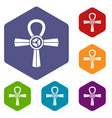 egypt ankh symbol icons set hexagon vector image vector image