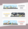 flat cityscape horizontal banners vector image