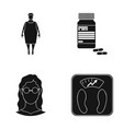 full woman a girl with glasses a scales with vector image