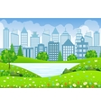 Green City Landscape with tree lake and flowers vector image vector image