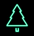 green neon christmas tree pine tree icon vector image vector image