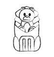 grunge bear teddy toy inside backpack style vector image vector image