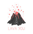 hand drawn cute funny with volcano vector image