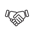 hand shake line icon business handshake vector image