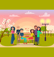 happy cartoon couples in park at sunset vector image vector image