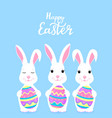 happy easter funny cartoon rabbit holding in the vector image vector image