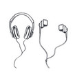 headphones types earphones monochrome sketches vector image vector image