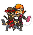 hipster girl and guy in a ninja costume vector image vector image