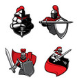 knight icons warriors swords helmets shields vector image