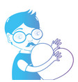line man with glasses and heart in the hands vector image vector image