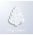 Merry Christmas white paper card with applique vector image vector image