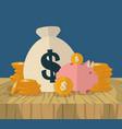 money bag piggy bank coins finance icons flat vector image vector image