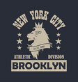 new york city brooklyn typography print with lion vector image vector image