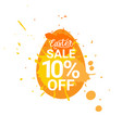 orange easter sale badge egg with paint splash vector image vector image