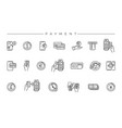 payment concept line style icons set vector image vector image