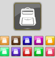 School Backpack icon sign Set with eleven colored vector image vector image