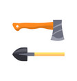 set of isolated icons depicing shovel and hatchet vector image