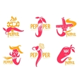 Set pink and orange of chili pepper logo vector image vector image