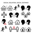 social isolation social distance icons vector image vector image