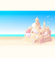 summer sea beach sandcastle banner vector image