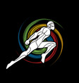 superhero flying action cartoon superhero ninja vector image