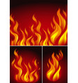 three backgrounds with fire vector image