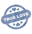 true love stamp seal fabric textured icon vector image vector image