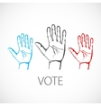 warm colorful up hands logo vote vector image vector image