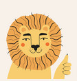 with funny lion showing thumbs up vector image