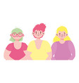 young people group male and female cartoon vector image vector image
