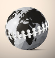 Paper People Holding Hands around Globe - Earth vector image