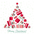 Shape Christmas tree made of gift boxes vector image