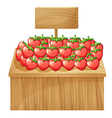 A strawberry stand with an empty wooden signboard vector image vector image