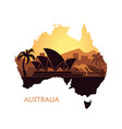 abstract landscape australia at sunset vector image vector image