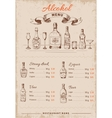 Alcoholic Drinks Hand Drawn Menu vector image vector image
