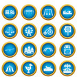 amusement park icons blue circle set vector image vector image
