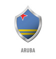aruba flag on metal shiny shield vector image