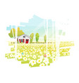 beautiful rural landscape and a small house vector image