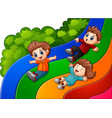 cartoon kids sliding down vector image